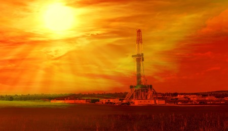 Shale gas drilling with sunrise in the province of Lublin Poland.